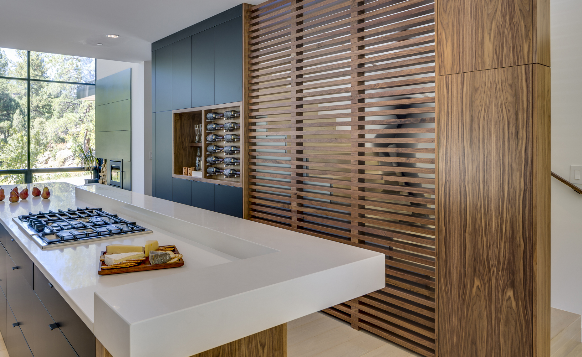 Website - Twin Buttes - kitchen walnut slat wall