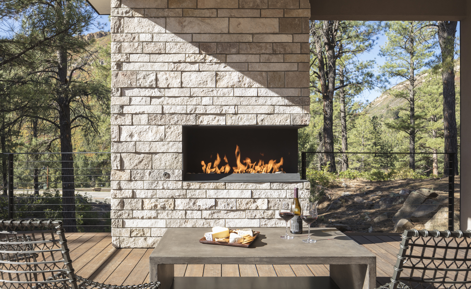 Website - Twin Buttes - main level deck fireplace